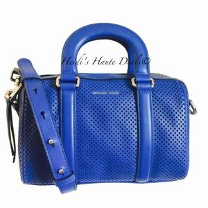 MICHAEL KORS Libby Blue Perforated Leather Satchel